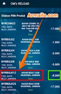 Ok. seperti telah diketahui informasi diatas bahwa paket data bulk 12gb nya adalah 105ribu dengan cashback 8ribu untuk agen. Maka kita lanjutkan ke pembayaran dengan mengklik menu bayar seperti berikut ini