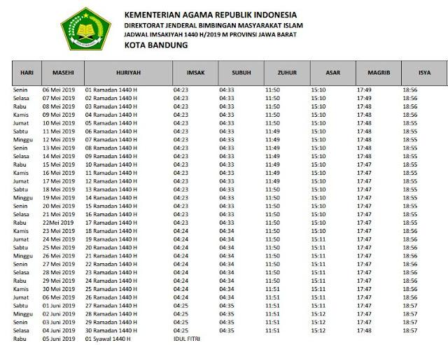 Jadwal Imsakiyah Ramadhan 1440 H / 2019 M Kota Bandung