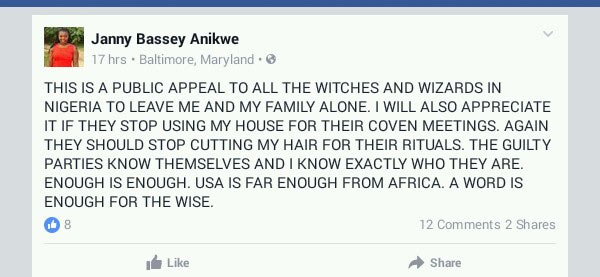US-based woman appeals to Nigerian witches and wizards to leave her alone
