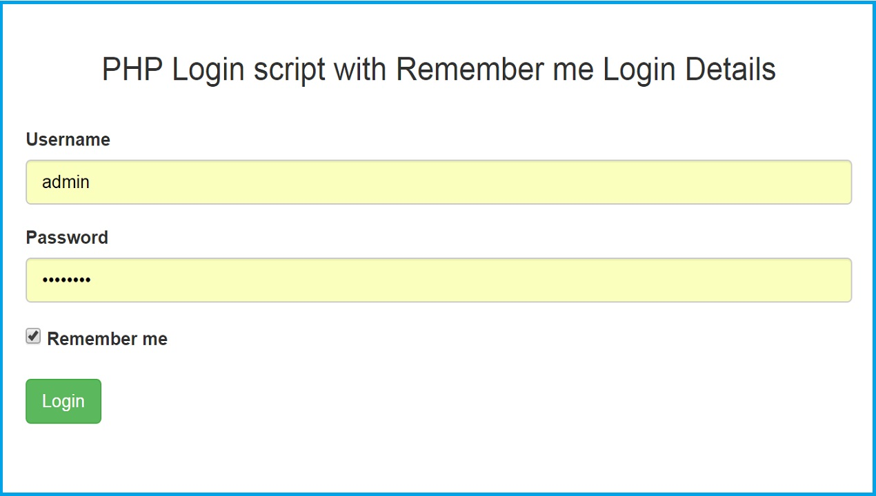 PHP Login Code with Remember me Login Details | Webslesson