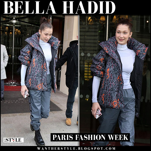 Bella Hadid in grey printed puffer jacket sankuanz, grey pants and black boots dr. martens jadon model fashion week outfit march 5