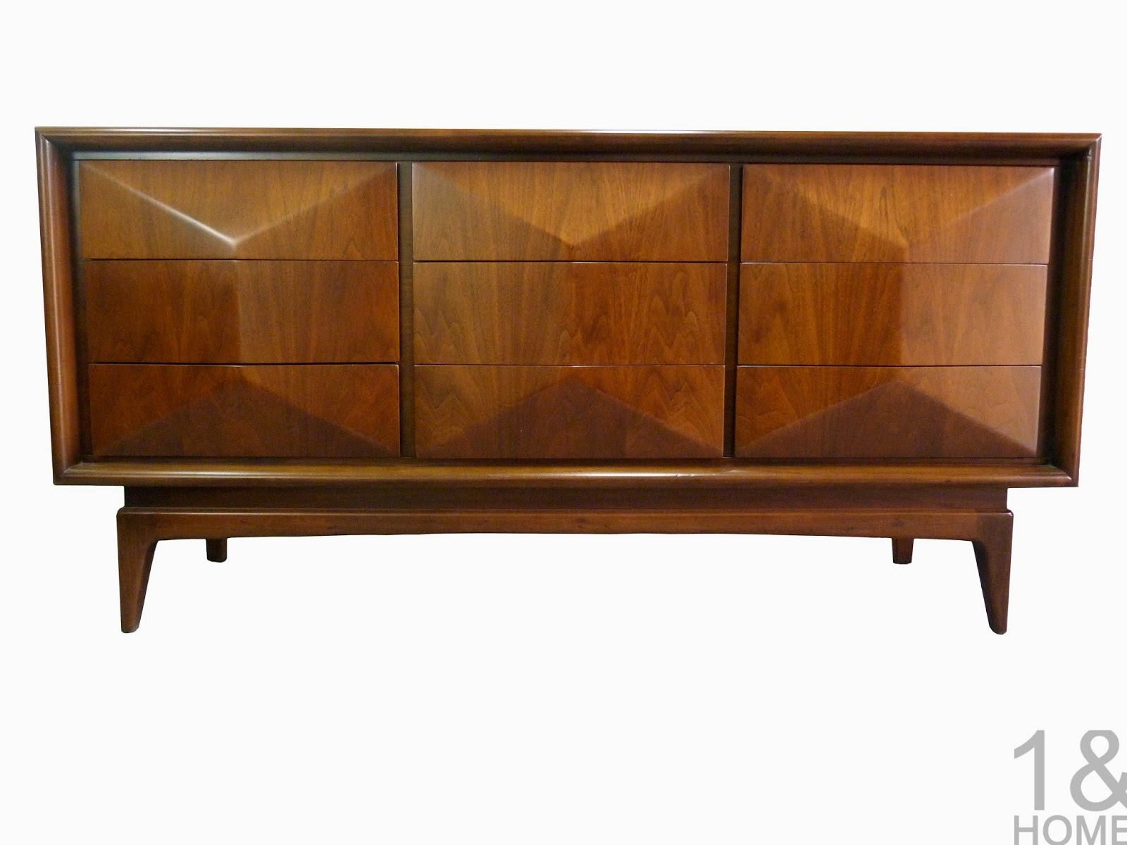 Diamond Front Mid-Century Modern Dresser / Credenza by United Furniture