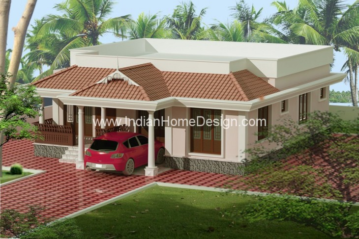Single Story 3 Bed Room Villa Elevation Design