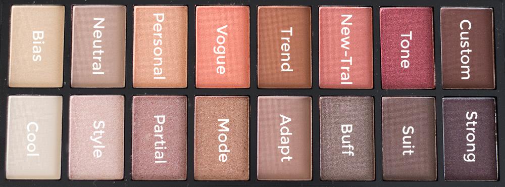 Makeup Revolution New-Trals vs. Neutrals Palette Shade Diagram