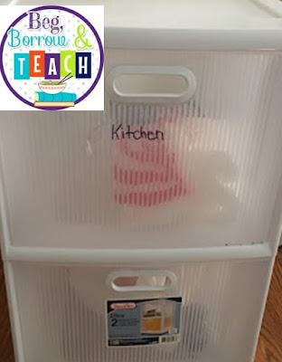 Using Classroom Organization Strategies on a Family Vacation: Sterilite drawers, labels, space saver bags