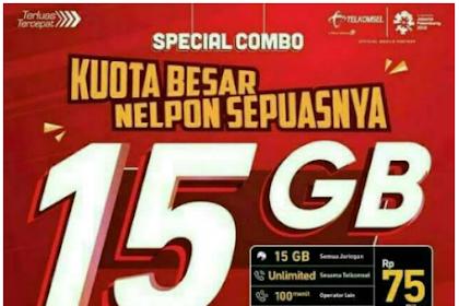 Kartu Paket Combo Telkomsel 15GB 75000