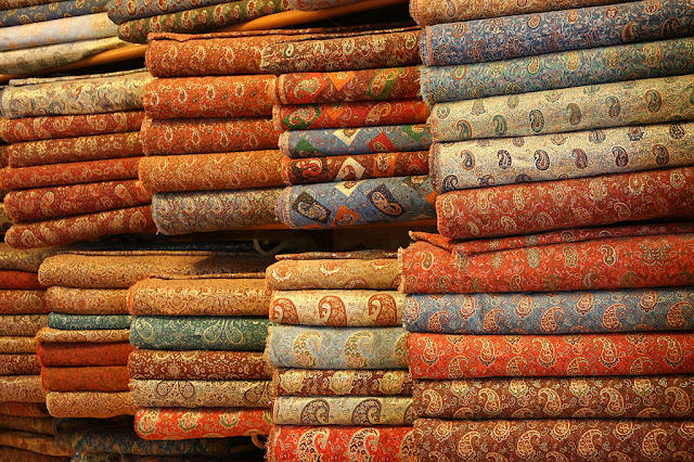 The roles of Termeh textiles in different colors. Iran