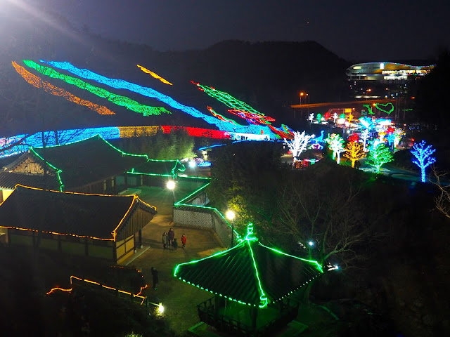 Looking down over the Light Festival at Boseong Green Tea Plantation, South Korea