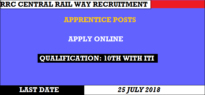 RRC Central Railway Recruitment 2018: 2573 Apprentice Posts, online Form