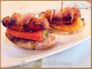 Pinchos de chistorra y bacon con pimientos