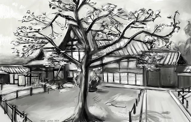 dibujo de paisaje japonés