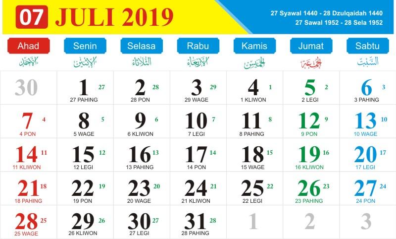 Kalender jawa juli 2019