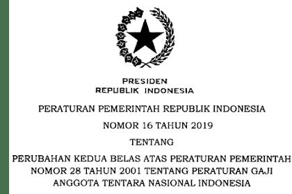 PP Nomor 16 Tahun 2019 Tentang Peraturan Gaji Anggota TNI