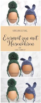Häkelanleitung zu Ostern: Eiermützen aus Sockenwolle mit Hasenohren oder Bommel