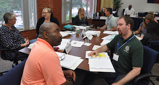Participants in the Decision Points program practice their interviewing skills.