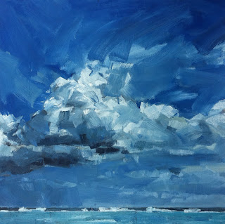 Greg Mason painting of big clouds in Mexico