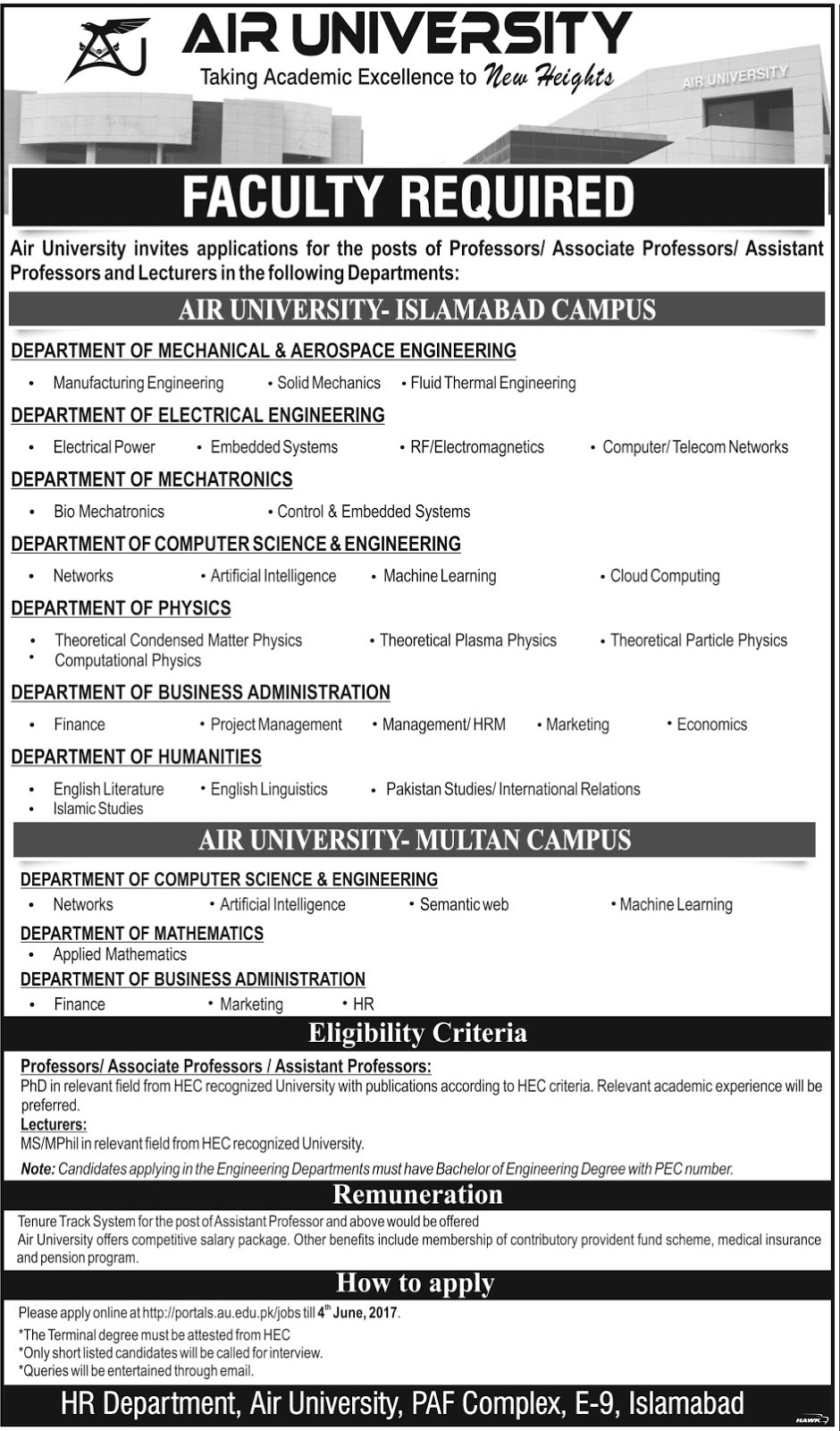 Jobs In Air University Islamabad and Multan Campus 21 May 2017