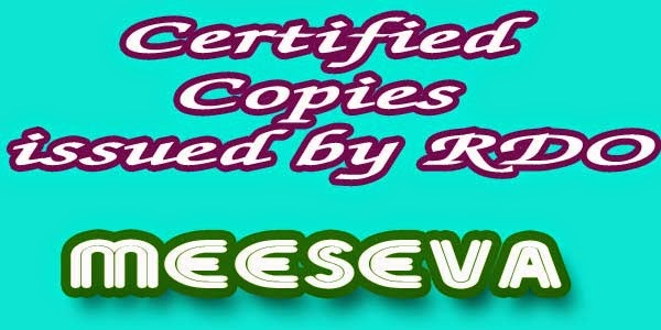 Certified Copies issued by RDO Aplly Meeseva