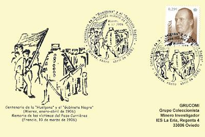 Tarjeta del matasellos del centenario de la Huelgona y el Gabinete Negro de 1906