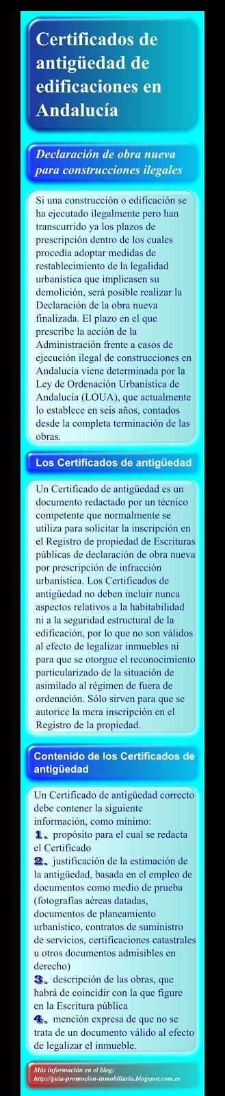 Certificados de antigüedad en Andalucía