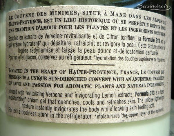 Le Couvent des Minimes Verbena & Lemon Hydrating Body Sorbet label