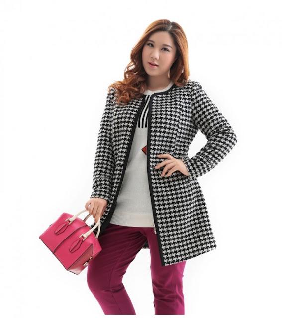 Kiểu áo khoác dạ họa tiết ziczac thời trang cho người béo