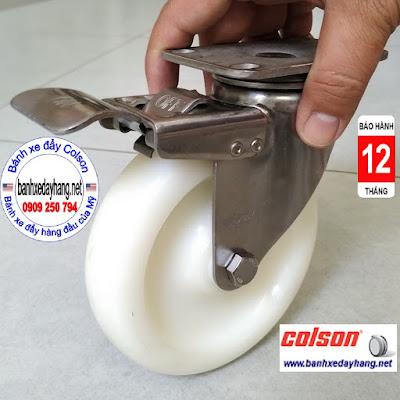 Bánh xe đẩy có khóa PA càng inox 304 Colson 5 inch | 2-5456-254-BRK4 banhxedaycolson.com