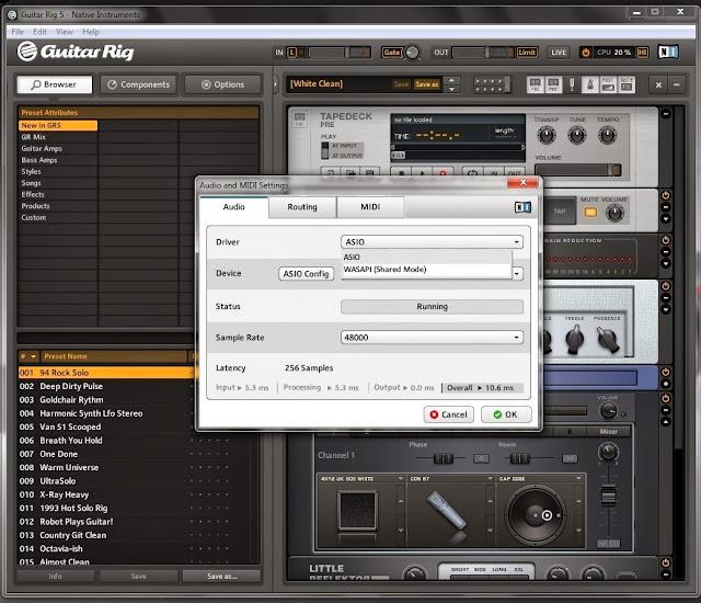 Configuracion de audio de Guitar rig 5