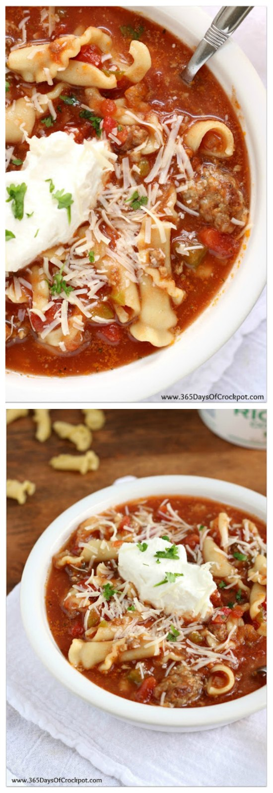 Easy Slow Cooker Lasagna Soup from 365 Days of Slow Cooking featured on SlowCookerFromScratch.com