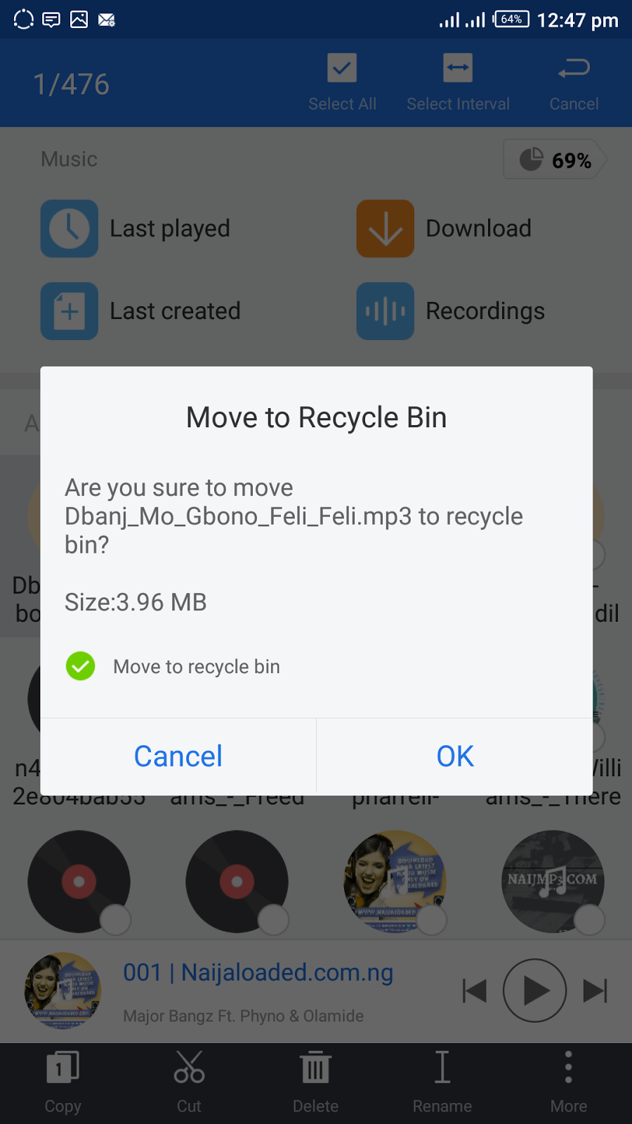 deleting and moving files to recycle bin