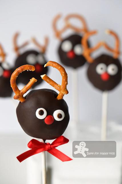 Rudolph red nosed reindeer cake pops Martha Stewart