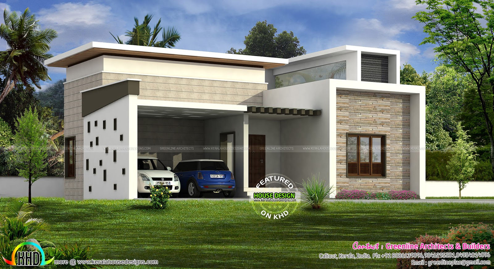 Single Floor Home With 2 Car Porch Kerala Home Design Bloglovin