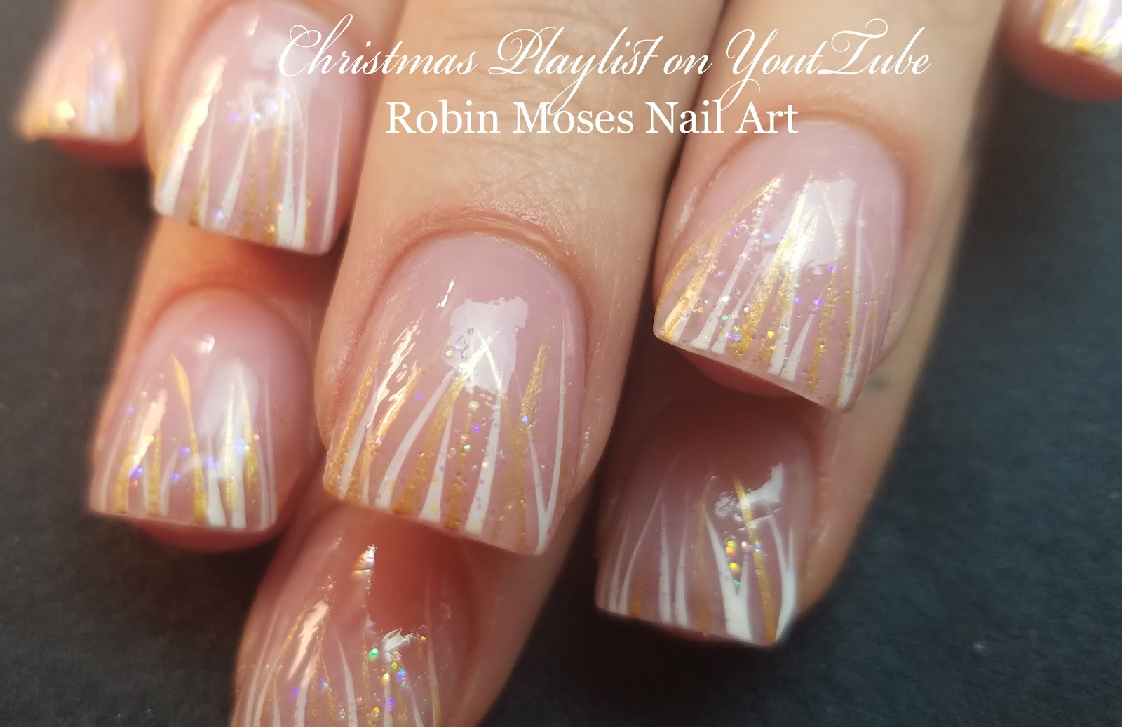 Nail Art by Robin Moses: Soft Winter White Stripe Nails | Easy + ...