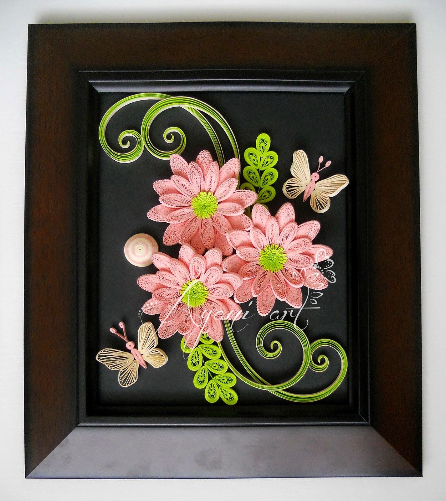 ayani art  quilling pink flowers and butterflies