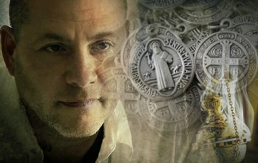 A photo montage of demonologist Ralph Sarchie, incense, and St. Benedict Medals.