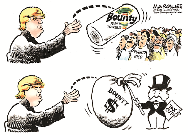 Image One:  Donald Trump throws paper towels to Puerto Ricans.  Image Two:  Donald Trump throws bags of money in tax cuts to plutocrats.