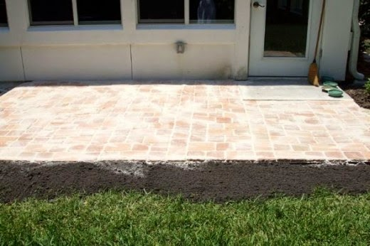 completion of step two leveing sand to patio stone pavers project