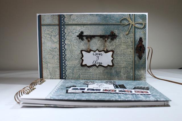 Libro de firmas Blues realizado por Ann Friks con la colección de papeles Stamperia Blues. Scrapbook