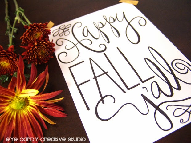 FALL art print, happy fall y'all, fall flowers, word art, hand lettered print