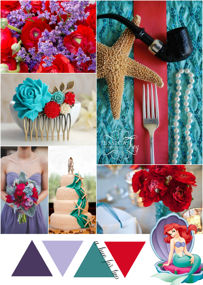 Purple Teal And Red Ariel Themed Wedding Colour Scheme A Hue For Two