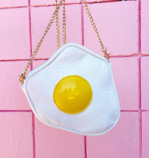 A bag inspired by a sunny side up egg.