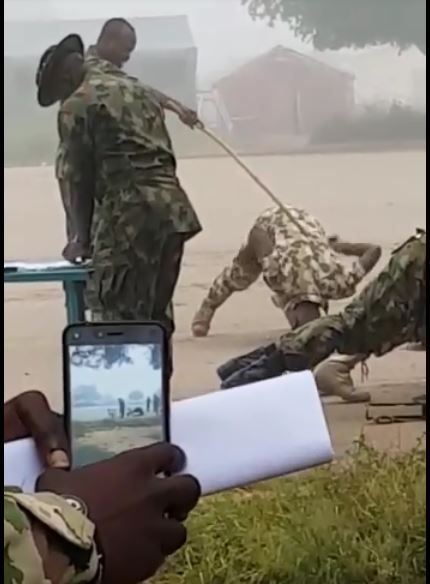 Nigerian soldiers being flogged for asking for their salaries