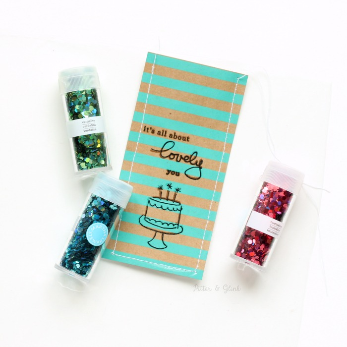 Handmade Shaker Bookmark: Sewing the bookmark and adding sequins and glitter. | pitterandglink.com