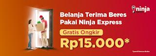 Tokopedia - Voucher Gratis Ongkir Pakai Ninja Express s.d 15 Ribu (s.d 15 Agustus 2018)