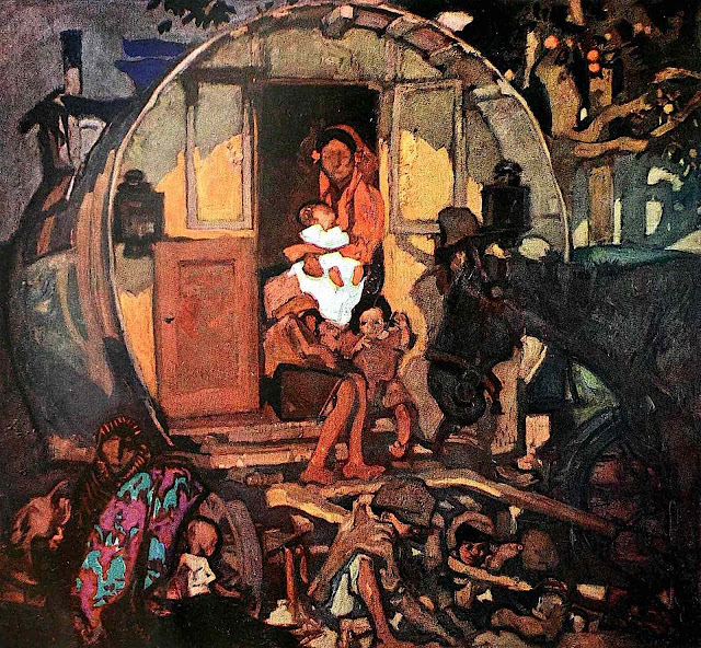 a Frank Brangwyn painting of a Roma wagon home and family