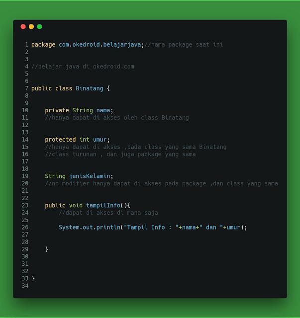 untuk penggunaan suatu atribut atau method Belajar Mengenal Modifier Public,Protected, dan Private pada Java
