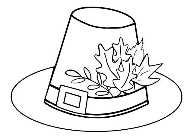 A pilgrim's hat with fall leaves for children to colour.