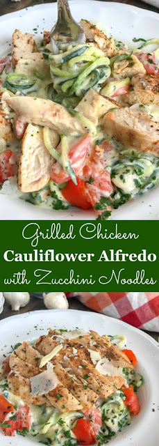 Healthy Grilled Chicken Cauliflower Alfredo with Zucchini Noodles