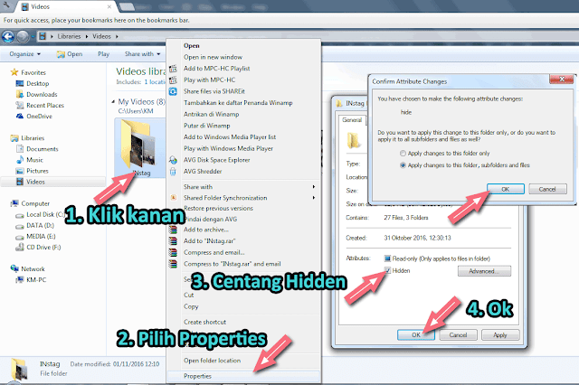 Menyembunyikan file dan folder di windows explorer