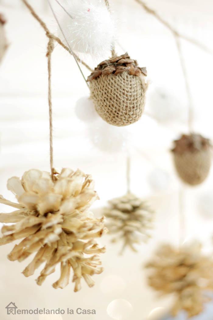 diy bleached pine-cone garland.